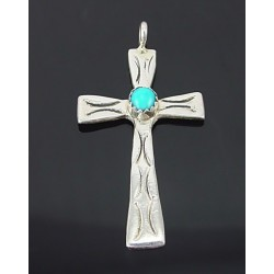 Native American Sterling Silver Cross Pendant