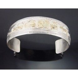 Southwestern Sterling Silver & 12K Gold Cuff