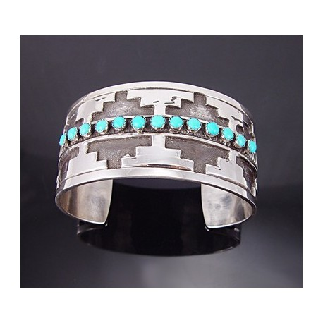 Southwestern Sterling Silver Cuff w Turquoise