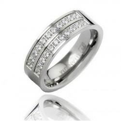 Titanium Wedding Band Ring with CZ