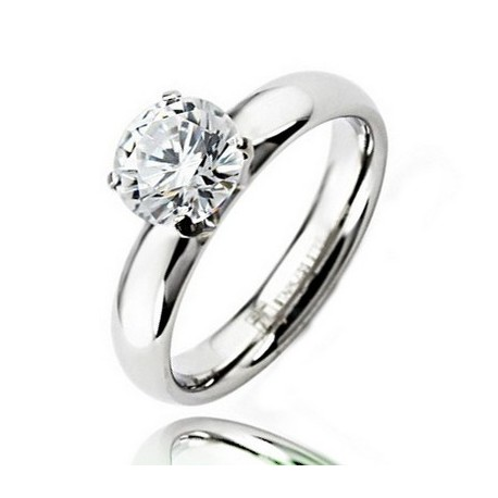 Stainless Steel Ring w CZ Size 8