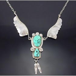 Southwestern Sterling Silver Necklace w Turquoise