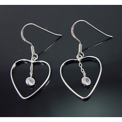 Sterling Silver Heart Earrings w Cubic Zirconia