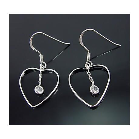 Sterling Silver Heart Earrings w Cubic Zirconia