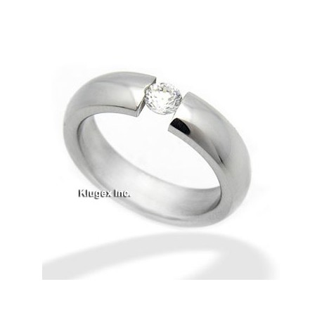 Stainless Steel Ring w CZ Size 5
