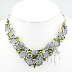 Sterling Silver Necklace with Gemstones
