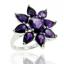 Sterling Silver Ring with Amethyst Size 6