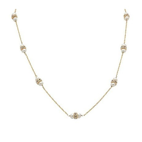 14K Gold Necklace with CZ & Genuine Pearl