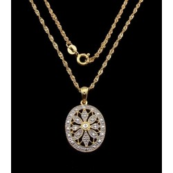 Sterling Silver & 22K Gold Vermeil Necklace w Diamond