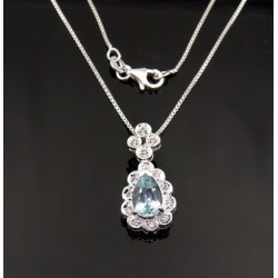 Sterling Silver Necklace w Blue Topaz Pendant