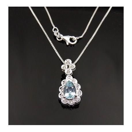 Sterling Silver Necklace w Blue Topaz Pendant