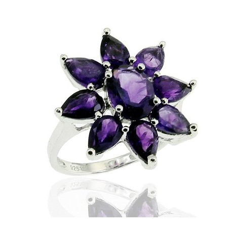 Sterling Silver Ring with Amethyst Size 10.5