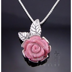 Sterling Silver Rhodonite Rose Pendant w Chain