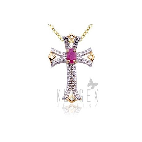 18K Gold Plated .925 Sterling Cross Pendant w Ruby & Diamond