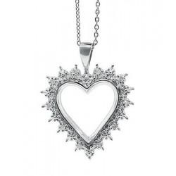 Sterling Silver Heart Pendant w Diamond