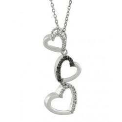 Sterling Silver Hearts Pendant w Diamond