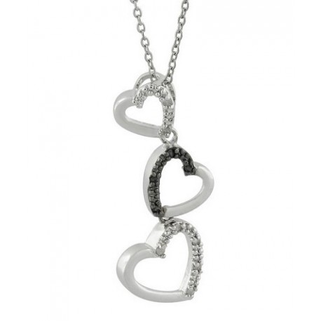 Sterling Silver Hearts Pendant w Diamond