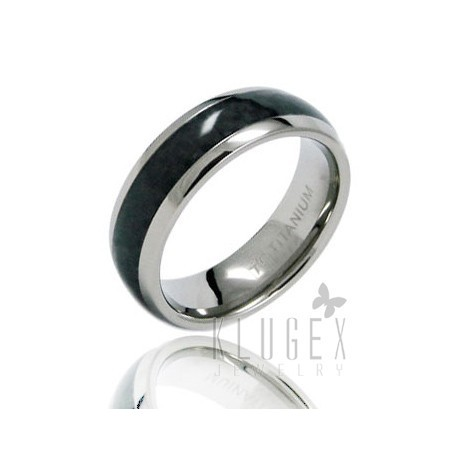 Titanium Carbon Fiber Inlay Band Ring Size 12