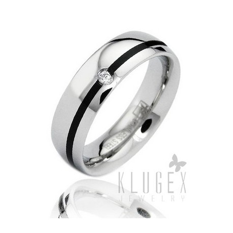 Stainless Steel Band Ring with CZ Size 7
