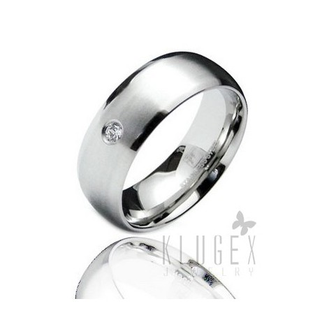Stainless Steel Band Ring with CZ Size 9