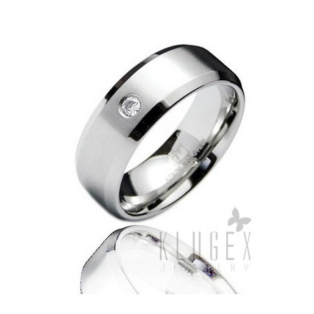 Stainless Steel Band Ring with CZ Size 10