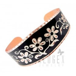 Handcrafted Copper Bracelet w Flowers