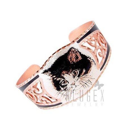 Handcrafted Copper Bracelet w Cat