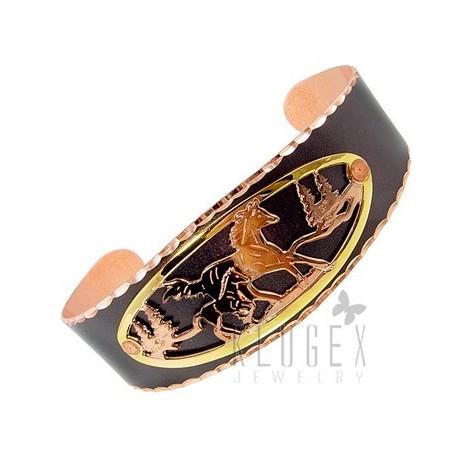 Handcrafted Copper Bracelet w Horse & Foil