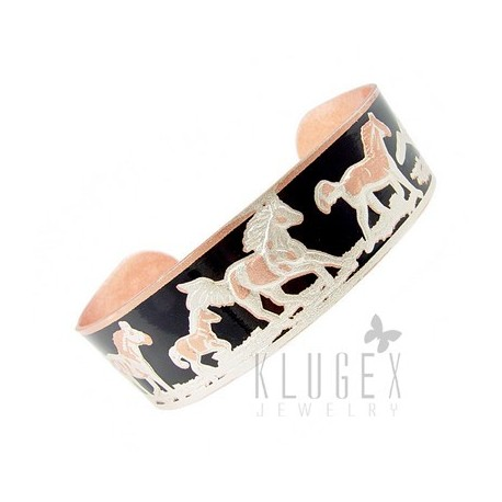 Handcrafted Copper Bracelet w Horses & Foil