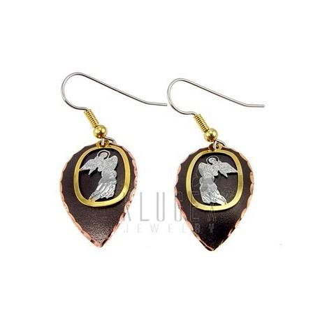 Handcrafted Copper Earrings w Angel