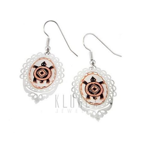 Handcrafted Copper Earrings w Turtle