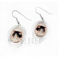 Handcrafted Copper Earrings w Cat