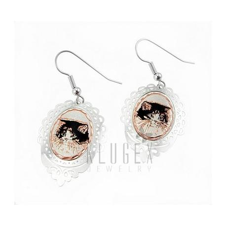 Handcrafted Copper Earrings w Cat