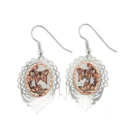 Handcrafted Copper Earrings w Butterfly