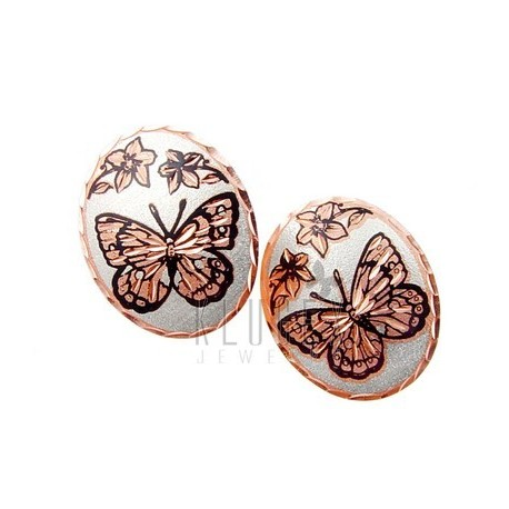 Handcrafted Copper Earrings w Butterfly