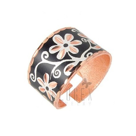 Handcrafted Copper Adjustable Ring w Flowers