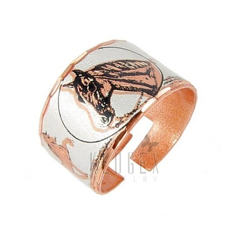 Handcrafted Copper Adjustable Ring w Horse