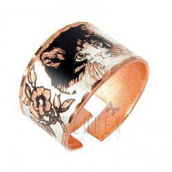 Handcrafted Copper Adjustable Ring w Cat
