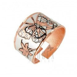 Handcrafted Copper Adjustable Ring w Butterfly