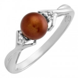 10K Gold Ring w Pearl & Diamond Size 5
