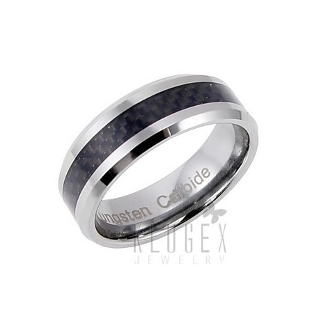 Tungsten Carbide w Carbon Fiber Inlay Ring Size 13