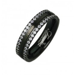 Black Stainless Steel Band Ring with CZ