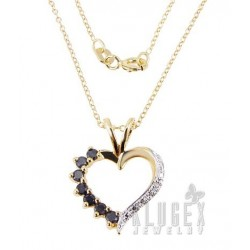 18K Gold Plated 925 Sterling Heart Pendant w Chain