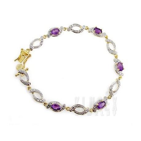 18K Gold Plated 925 Sterling Bracelet w Amethyst