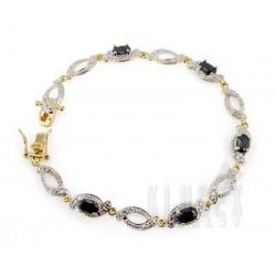18K Gold Plated 925 Sterling Bracelet w Sapphire
