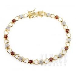 18K Gold Plated 925 Sterling Bracelet w Garnet