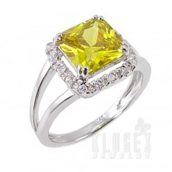 Sterling Silver Ring w Yellow CZ Size 10.5