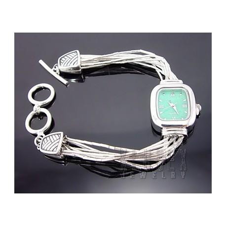 Sterling Silver Ladies Toogle Watch w Turquoise