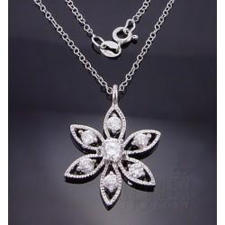 Sterling Silver Flower CZ Pendant w Chain