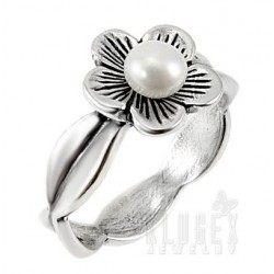 Sterling Silver Flower Ring with Pearl Size 7